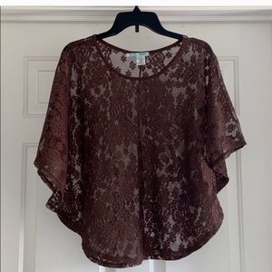 Maurices lace overlay poncho- S